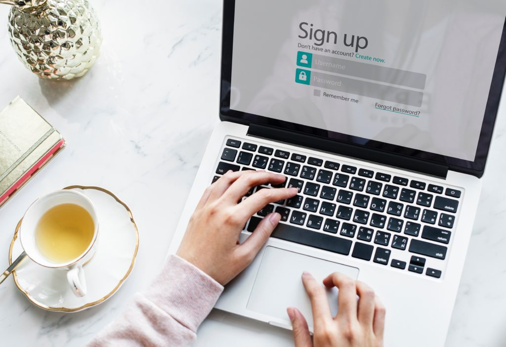 Signing up for an online business